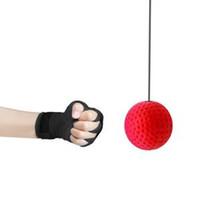 équipement d'exercice de la main achat en gros de-Boxe Reflex Vitesse Punch Ball Silicone Formation Main Oeil Coordination avec Bandeau Améliorer La Réaction Muay Thai Exercice Équipement LJJR257