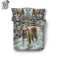 Wholesale tiger 3d bedding set for sale - Group buy 150x200CM D Mountain Spring Tiger print Duvet Cover with pillowcase Bedding Set Microfiber Quilt Cover Zipper Closure NO Comforter