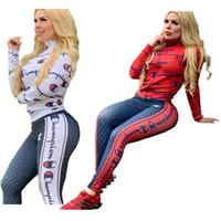 kadın bacak taytları toptan satış-Kadınlar Şampiyonu Mektupları Kıyafetler Uzun Kollu Coat Sıkı Legging Pantolon Eşofman Tasarımcı Fermuar Spor Sonbahar İki Adet C91802 ayarlar Tops