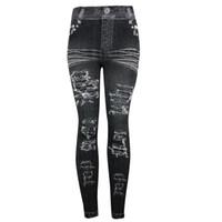 jeans jeggings mujer s al por mayor-De las mujeres elásticos de impresión flaca Jeggings Jeans de imitación sin costura Leggings de entrenamiento de moda ropa deportiva Mulheres # 3