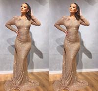 mädchen sexy roben großhandel-Gold Langarm Meerjungfrau Abendkleider 2020 Rot Pailletten Schwarz Mädchen Abendkleid Prom Wear Kleider Roben de soirée vestidos de fiesta
