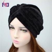 меховые повязки для женщин оптовых-2018 Spring New  Women Fur Turban Women's Muslim Turban Ladies Hair Accessories Headband Headwear Turbante Hat