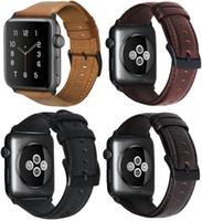 correas de reloj de cuero genuino de reemplazo al por mayor-Correa de reemplazo de cuero genuino para Apple Watch serie 4 40mm 44mm Serie 3/2/1 38mm 42mm