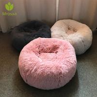yuvarlak köpek evi toptan satış-Uzun Peluş Süper Yumuşak Pet Yuvarlak Yatak Kulübesi Köpek Kedi Rahat Uyku Cusion Kış Evi Kedi Sıcak Köpek yatakları için Pet Ürünleri