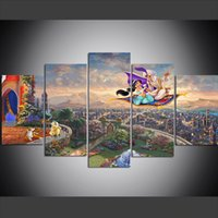 Wholesale city landscape oil paintings online - 5 Piece Large Size Canvas Wall Art Pictures Creative Aladdin City Castle Art Print Oil Painting for Living Room Painting Wall Decor