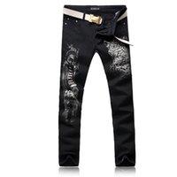calça de calças de homens leopardo venda por atacado-ORINERY Tamanho 28-38 Venda Quente Leopardo Impresso Skinny Jeans Homens Moda Denim Preto Calças de Alta Qualidade Mens Roupas Calças Compridas
