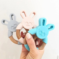 Wholesale rattle teether newborn resale online - Free DHL INS Animal Silicone Teether Wooden Ring Nursing Accessories Infant Gifts Chewable Rattle Circle Newborn Shower Gifts Baby Teethers