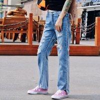 jeans coreano venda por atacado-Calça Jeans Feminina de Cintura Alta Rasgado Inferior Assimétrica Calças Jeans Para As Mulheres Coreano Casual 2019 Moda Primavera Novo
