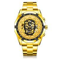 ремень для стимпанк оптовых-SEWOR стимпанк череп авто механические часы мужчины золото из нержавеющей стали ремешок скелет циферблат мода прохладный дизайн наручные часы
