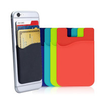 Wholesale cell phone kickstand for sale – best Cell Phone Card Holder Wallet Ultra slim Self Adhesive Silicone Stick on Credit Card Id Wallet Case Pouch Sleeve Pocket for Smartphones