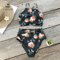 высокие набедренные наборы купальников оптовых-CUPSHE Black High-waisted Bikini Sets Women Lace up Tank Two Pieces Beach Bathing Suits Swimsuits 2019 Girl Active Swimwear
