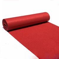 ingrosso forniture di tappeti rossi-Accessori per la sezione sottile Aisle Foyer Red Carpet Corridoio Hotel Hall Carpet Wedding Banquet Home Textiles esposizione evento