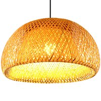 lámpara de luz de linterna de 15 led. al por mayor-Nuevo bambú chino tejido nido de bambú nido colgante antiguo luz E27 lámparas linternas sala de estar restaurante del hotel pasillo lámpara