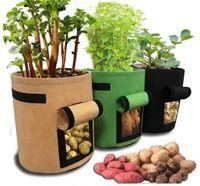 Wholesale pots resale online - Non woven Nursery Bags Plant Potato Grow Bag Felt Fabric Seedling Pot Reusable Vegetables Grow Pots Flower Seedling Bags LJA2530
