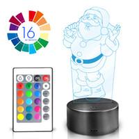 juguetes de santa claus al por mayor-40 unidades mucho 3D lámpara de Santa Claus LED luz de noche multicolor RGB bombilla decoración de Navidad regalo de los niños juguetes
