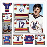 Wholesale Custom Kansas City Scouts Men s College Hockey Simon Nolet Denis Herron Steve Durbano White Blue Alternate1974 Vintage Name Jerseys