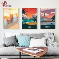 Wholesale new paint wall resale online - The Morning of City Denmark New York Vintage Poster Landscape Art Canvas Painting Wall Picture Print Modern Home Room Decoration