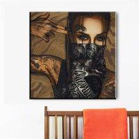 ölgemälde mädchen porträt großhandel-Moderne Malerei Bild Straße Graffiti-Kunst Mädchen Portrait mit Rissen auf Ölgemälde Segeltuch für Hauptdekor und Wandkunstplakat