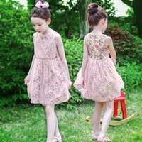 Wholesale generations clothing for sale - Group buy Summer new children s clothing girls Korean version of the mesh dress girl floral flower princess dress a generation