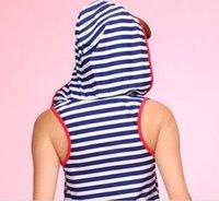 moda nova vestindo swimwear venda por atacado-18 O novo fresco e adorável peça swimsuit usando um chapéu de listras moda proteção solar swimwear estudante menina era kit maiô fina