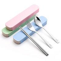 ingrosso forchette occidentali-Sorriso Set di posate in acciaio inox Set per cena Western Knife Fork Cucchiaino Dinner Spoon Servizio da tavola Set di posate Free DHL