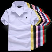 polo blau navy großhandel-Klassisches Kurzarm-Polo-Shirt Herren Solide Baumwolle Atmungsaktiv Lässige Polo-Shirt Slim Herren Marineblau Grau Weiß Schwarz D2718 große Größe S - 5XL