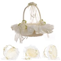 canasta de flores de novia al por mayor-Canasta de flores de boda de color beige con satén elegante redondo y champán rosa niña de flores canastas favores de la boda decoración