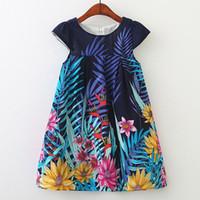 hoja de tutu al por mayor-2019 nuevo diseño de las niñas del bebé vestido floral Flor Hoja Impreso chaleco Falda niños vestidos casuales niños boutiques ropa