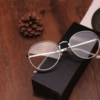 Wholesale plain glass spectacles frame designs for sale - New Design Thic Eyeglasses With Plain Lens Classic Vintage Round Glasses Metal Spectacle Frame For Women Reading Eyeglass Computer Eye Glass