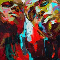 cuchillo de paleta moderno al por mayor-Francoise Nielly Cuchillo de paleta Impresión Inicio Obras de arte Retrato moderno Pintura al óleo hecha a mano sobre lienzo Textura cóncava y convexa Face003