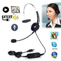 Wholesale laptop center resale online - USB Headset with Microphone Rotatable Adjustable Noise Canceling Earphone Call Center Headset Earphone for PC Laptop