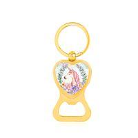 kawaii flaschenöffner großhandel-Kawaii Einhorn-Herz Flaschenöffner Cute Horse-Blumen-Glasschlüsselanhänger Schlüsselanhänger Gold-Silber-Farben-Schlüsselanhänger für Frauen-Mann