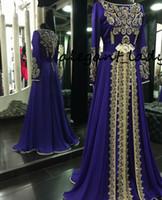 blaues langärmeliges kleid großhandel-Langärmelige Abendkleider 2019 Royal Blue Muslim Formal Abaya Designs Dubai Türkische Gold Applique Prom Dresses Kleider Marokkanischer Kaftan