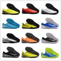 zapatillas de fútbol verde para hombre. al por mayor-2019 Mercurial Vapors XIII TF Botas de fútbol Zapatillas de deporte de los hombres Negro Blanco Verde Azul Rojo Amarillo Gris Diseñador Top Fútbol zapatos tamaño 39-45