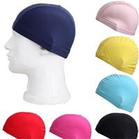 les femmes nagent des casquettes de bain achat en gros de-Bonbons Couleur Bonnet De Bain Hommes Femmes Tissu Chapeau De Bain Pratique Et Durable Fournitures De Piscine Intérieure Ventes Chaudes 0 95yf C1
