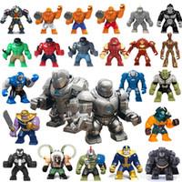 şaşkın süper kahramanlar aksiyon figürleri toptan satış-Demir Hulk Blokları 24 tasarım 3 inç Marvel Avengers Süper Kahraman Büyük Yapı Taşları demir Adam Aksiyon Figürleri çocuklar için Hediye