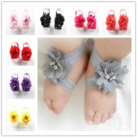 Wholesale first foot for sale - Toddler Baby Chiffon Water Drill Flower Foot Belt Set Sandals Flower Barefoot Foot Infant First Walker Shoes Photography Props hot A32003