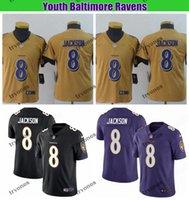 jersey negro de baltimore al por mayor-Niños Baltimore Ravens Cuervo Juvenil Lamar Jackson invertido leyenda del fútbol de los jerseys Boys # 8 Lamar Jackson cosido camisas negras