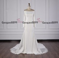 Wholesale see through flower wedding dress for sale - Group buy 2020 modest stain Mermaid Wedding Dresses side with see through lace sweep Train long sleeves Custom made zipper back Formal Bridal Gowns