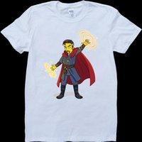 desenhos animados estranhos venda por atacado-Doctor Strange Cartoon Mens Branco, Custom Made T-Shirt