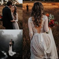 Wholesale beach wedding dresses resale online - Sexy Deeep V Neck Lace Appliques Bohemian Wedding Dresses With Long Sleeves Backless Sweep Train Boho Beach Country Bridal Gowns Plus Size