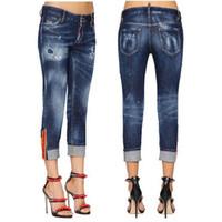 nouveau jean de mode fille achat en gros de-Nouveau design de mode Jeans dames femmes Patch détail ourlet manchette détruit Jeans Cool Girl Cropped Fit