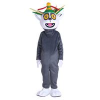 traje adulto de personagem unisex venda por atacado-Unisex Madagascar Rei Lemur Lemuridae Lemuridae Lemuridae Mascot Costume Personagem de Banda Desenhada Mascotte para o Dia Das Bruxas adulto festa purim