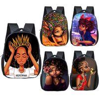 mochilas de calidad para niños al por mayor-Mochila de estudiante de alta calidad 18 Diseño para niños Gran capacidad Afro Cartoon Baby Girl Schoolbag Niños Resistente al desgaste 12 pulgadas Bolsa de almacenamiento de viaje 06