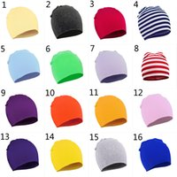Wholesale crochet hat for boy child for sale - Group buy 28 Color New Baby Hat Spring Autumn Baby Hat Scarf for Boys Girls Knitted Cap Winter Warm Solid Color stripe Children Hat B001