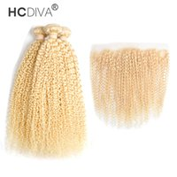 feixes de luz venda por atacado-Malaio Luz Loira Kinky Curly Hair Bundle com Rendas Frontal Grau 9A Boa Qualidade 3 Pcs Cabelo com 1 Pcs Encerramento 13 * 4