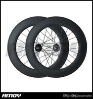 roda de pista de 88mm venda por atacado-carbono 88C 700C rodado, 88 milímetros gancho / tubular, pista bicicleta fixa da engrenagem de roda de bicicleta de carbono rua
