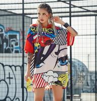 ingrosso pre stampa-2018 Pre-vendita Nuovo Harajuku Divertente Stampato T-Shirt lunghe Per donna Estate Manica corta T-shirt con cappuccio Donna Top Stile hip-hop Y19072001