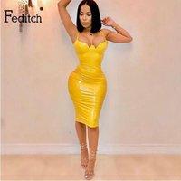 ingrosso vestito di pelle giallo faux-Feditch Party Women Spaghetti Strap Pu Ecopelle V Neck Sexy Slim Mini Dress Giallo Vestido De Festa Q190511