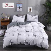 juego de cama de ciervo reina al por mayor-Juego de cama SlowDream Forest Deer Sábana nórdica gris Funda nórdica Funda de almohada Decoración Textiles para el hogar Ropa de cama doble Queen para adultos